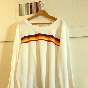 White 3X Forever 21 Rainbow Stripe Sweater